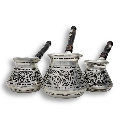 Ibrik Cezve Cafetera Turca Arabe De Cobre Grabada a Mano Patrón Arabe - Plata Mokha Bunn Chile